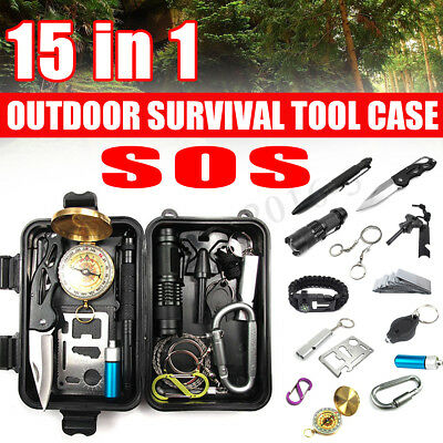 15in1 Emergency Outdoor Survival Equipment Sports Tactical Hiking Camping Tool