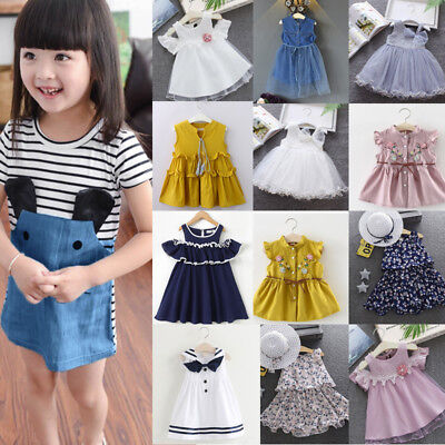 Toddler Kids Baby Girls Dress,Infant Girls Cherry Blossoms Embroidery Splicing Dresses