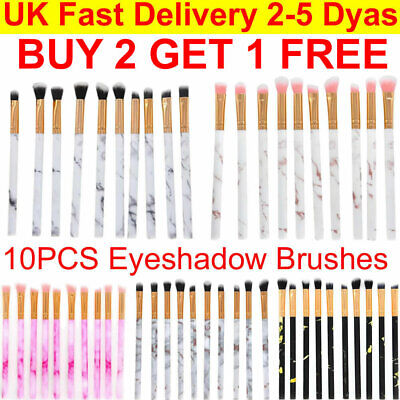 10PCS Marble Make Up Brushes Eyeshadow Eyeliner Blending Eyebrow Brushes Set