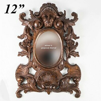 """Antique Hand Carved Black Forest or French 12"""" Frame, Figural, Mirror, Acanthus"""