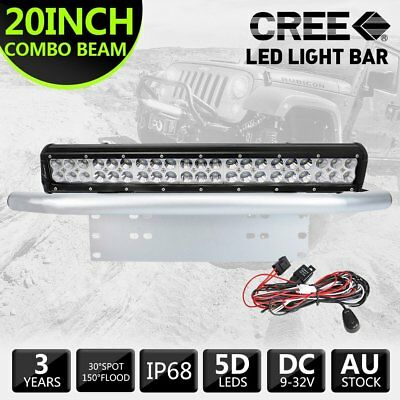 126W 20inch CREE LED Light Bar +23INCH License Mount Bull Bar Number Plate Frame