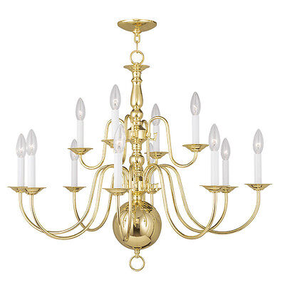 Livex Williamsburgh 12 Light 32 inch Polished Brass Chandelier Ceiling 5014-02