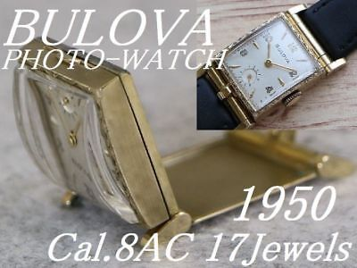Used 1950 Bulova Photo Watch Engraved Rocket Case Made In Usa 17 Stones Cal 8