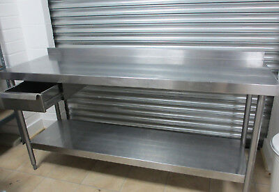 Stainless Steel Table, 180cm,  shelf, drawer. Commercial catering workbench