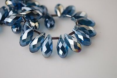 20pcs 16X8mm Teardrop Faceted Crystal Glass Pendant Loose Beads Peacock Blue AB