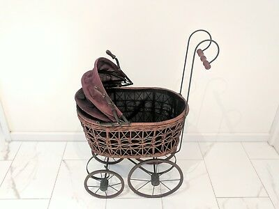 Lovely Antique Cane Dolls Pram.