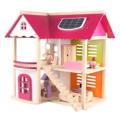 Kids Girls Wooden Doll House Wooden toy pretend play roll play