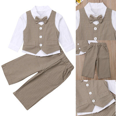 USA Toddler Baby Boys Gentleman Clothes Set Bow Shirt+Jeans Wedding Party Suit