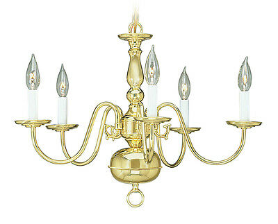 Livex Williamsburgh 5 Light 24 inch Polished Brass Chandelier Ceiling 5005-02