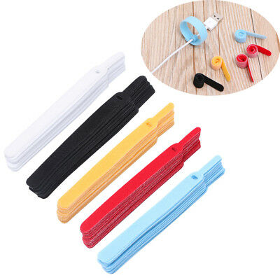 20 Pcs Polyester / Nylon Hook and Loop Cord Wire Ties Reusable Cable Straps