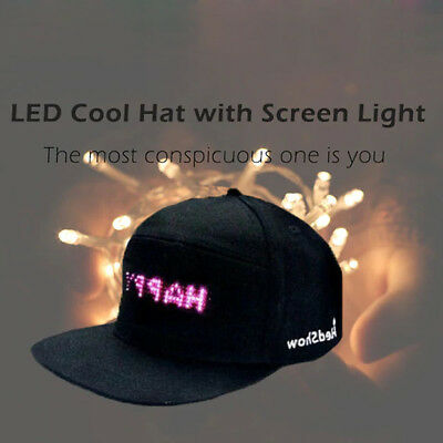Waterproof Led Screen Light Controlled By Smartphone Hat For Men Women Cap Cool