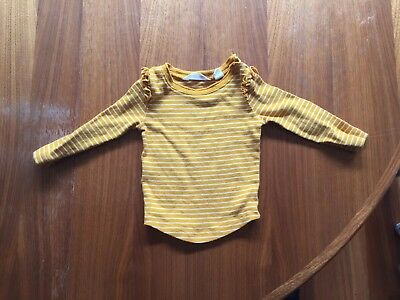 Country Road Mustard Stripe baby girl top - Size 00
