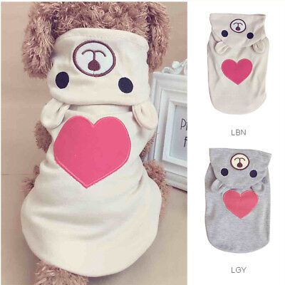 Pet Small Dog Cat Puppy Costume Bear Warm Jumpsuit Hoodie Clothes Apparel XS-XL