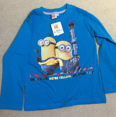 BNWT Boys Official Despicable Me 2 MINIONS T-Shirt//Top 2-13y Blue//Red Kids NEW