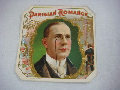 Vintage Parisian Romance Unused Cigar Box Label