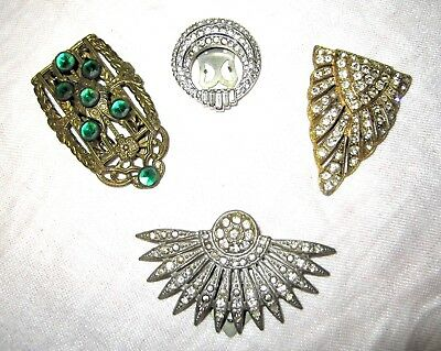 Vintage Antique 1900-1930s ~ 3 Fur Clips & 1 Goody Dress or Scarf Clip