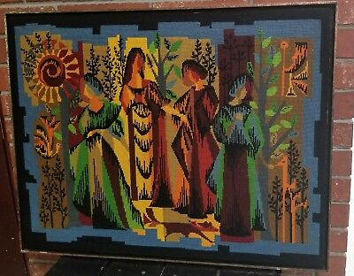 Cubist NEEDLEPOINT Royal-Paris FOUR SEASONS Mid-Century Les Quatre-Saisons 25x32