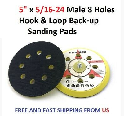 "5"" x 5/16-24 Male 8 Holes Hook & Loop Back-up Sanding Pads"