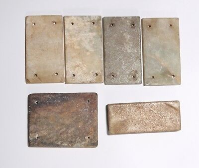 6PCS Authentic Chinese Han Dynasty Craft Natural Jade Chips For Clothes SA240