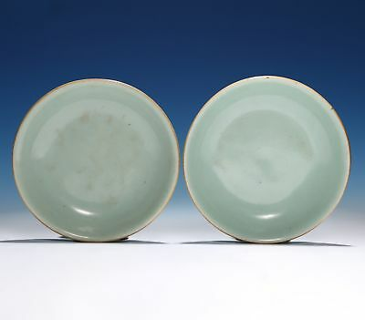 A Pair of Qing Dynasty Chinese Porcelain Old Plate Bean green glaze Dish SA125