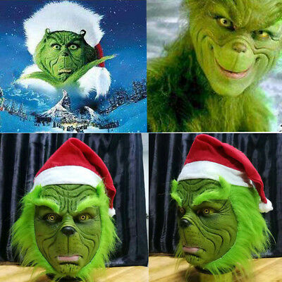 Green Grinch Stole Christmas Latex Mask Long Hair Full Face Xmas Hat Party Props