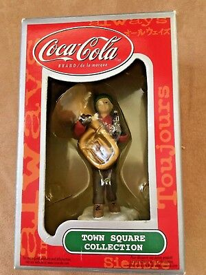COCA-COLA TOWN SQUARE COLLECTION Vintage Boy with Tuba / Horn - NIB Issue 2000
