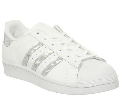 WOMENS ADIDAS SUPERSTAR Gs Trainers White Silver Holographic Trainers Shoes