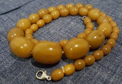 Antique Baltic Butterscotch Egg Yolk Pressed Amber Graduated Bead Necklace 52g