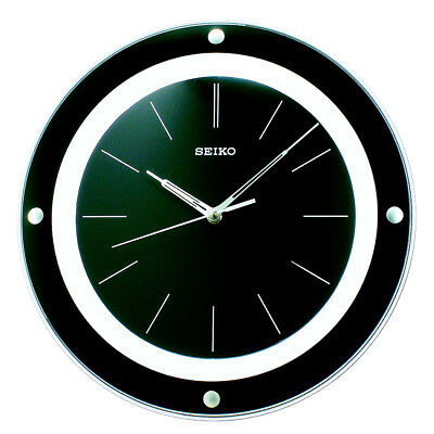 Seiko Stylish Wall Clock Black Round Plastic Modern Style Analogue
