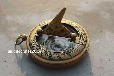 Antique Brass Push Button Sundial Compass Maritime Reproduction Pocket Compass.