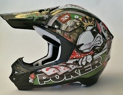 Casco One Poker Cross Motard Enduro Off Road Moto Grafica Nero Interno Lavabile