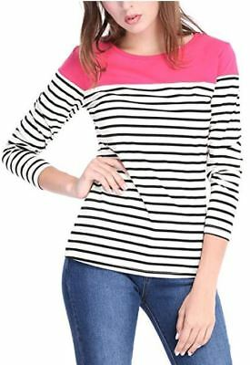 Allegra K Women's Round Neck Long Sleeve Color Block Striped Tops T Shirts