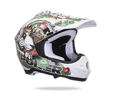 Casco One Poker Cross Motard Enduro Offroad Moto Grafica Bianco Interno Lavabile