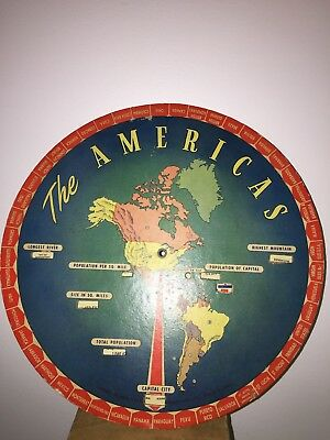 """Vintage World Information Wheel 1948 """"the Americas"""" Geography Chart Unique Rare"""