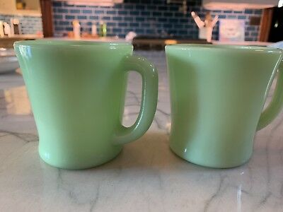 PAIR of 2 VINTAGE FIRE-KING GREEN JADEITE GLASS FLAT BOTTOM D HANDLE MUGS CUPS