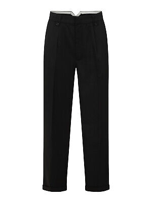 Mens 1940s Swing Vintage Style Black Fishtail Look Trousers With Turn Up Hems