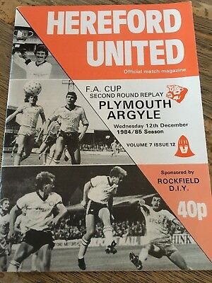 Hereford United v Plymouth Argyle FA Cup 1984/85 Replay