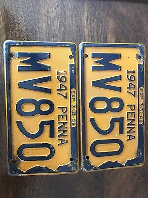1947 Pa Antique Vintage License Plate Set