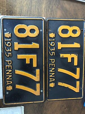 1935 Pa Antique Vintage License Plate Set