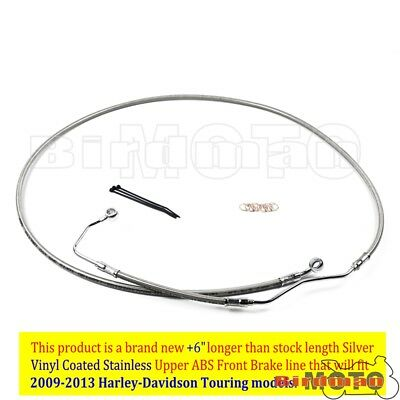 "Silver +6"" Stainless Upper Front Brake Line Cable Kit For 2009-13 Harley Touring"
