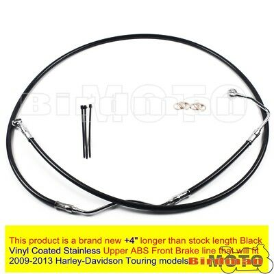 "Black +4"" Stainless Upper Front Brake Line Cable Kit For 2009-13 Harley Touring"