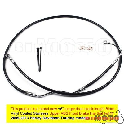 "Black +6"" Stainless Upper Front Brake Line Cable Kit For 2009-13 Harley Touring"