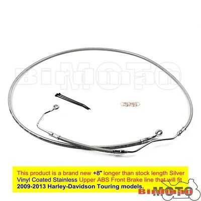 "Silver +8"" Stainless Upper Front Brake Line Cable Kit For 2009-13 Harley Touring"