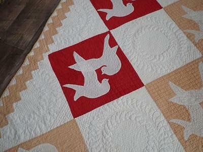Stipple Quilting! 19th c Antique Tan Red & White Applique Doves Quilt