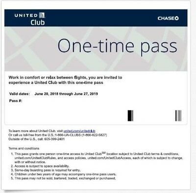 2 Passes for United Club One Time Pass EXP 06/22/2019  E-Delivery
