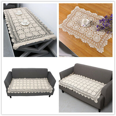 Beige Handmade Crochet Cotton Vintage Lace Table Sofa Doilies Table Cloth Home