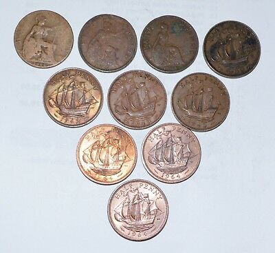 1914 - 1964 GREAT BRITAIN lot half penny lot UK SHIP COINS