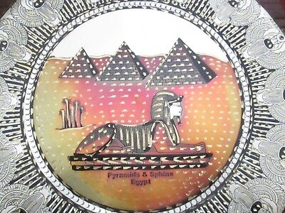 Antique Egypt Egyptian Brass Wall Plate Hand Made Sphinx and pyramids