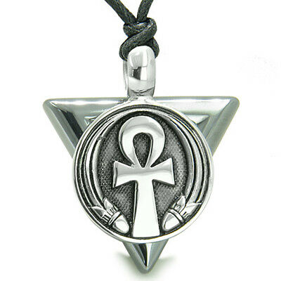 Amulet Ankh Egyptian Powers of Life Pyramid Energies Hematite Trinity Protection