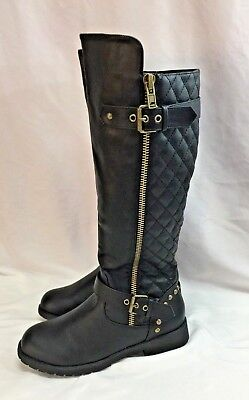 Nature Breeze Ladies Vivienne-01 Quilted Knee High Motorcycle Boot- Black E1